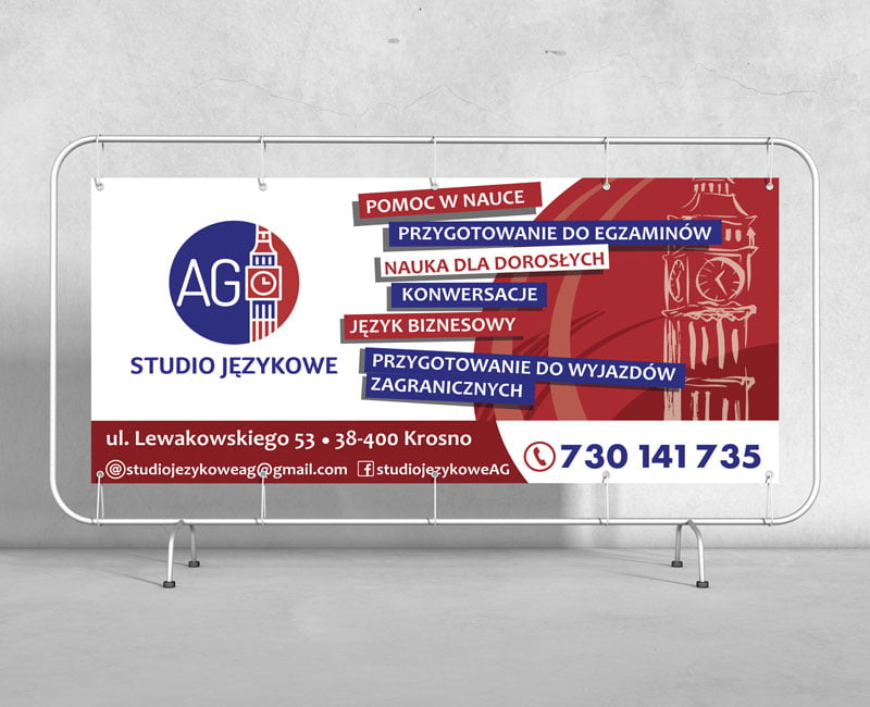 Baner reklamowy na konstrukcji metalowej reklamujący studio językowe