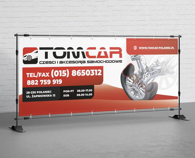 Wydruk wielkoformatowy - baner reklamowy dla firmy TOMCAR.