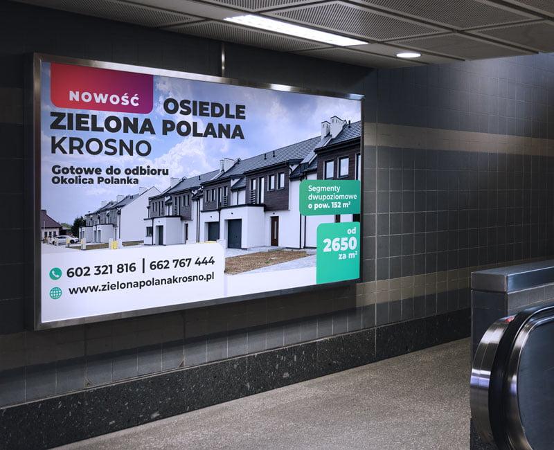 Bilboard reklamowy Osiedle Zielona Polana w ramie aluminiowej.