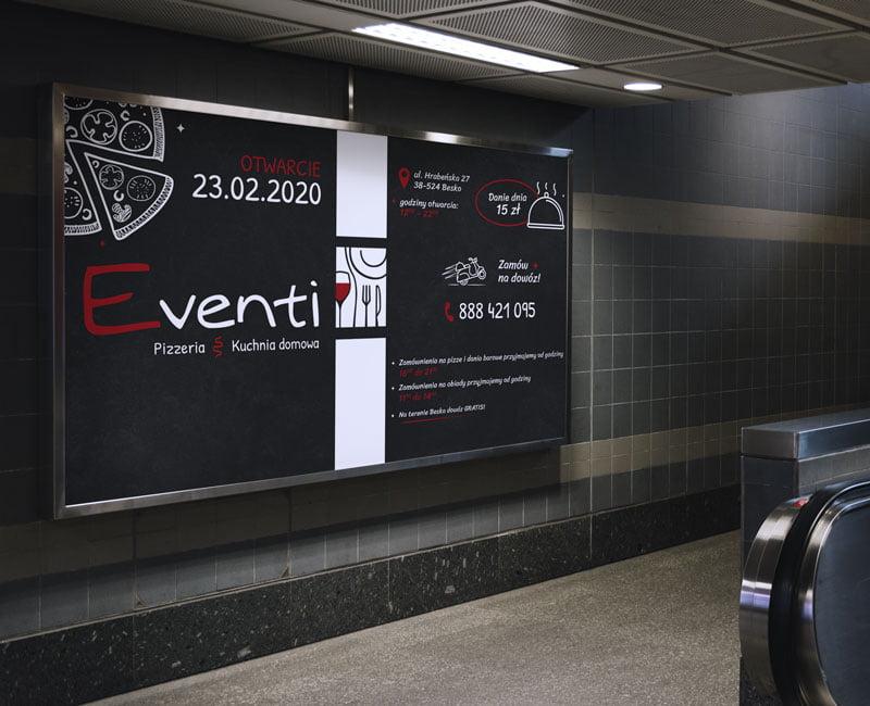 Bilboard reklamowy dla Pizzerii Eventi z Beska w ramie aluminiowej.