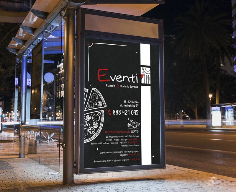 Plakat reklamowy, wielkoformatowy jako reklama lokalu gastronomicznego.
