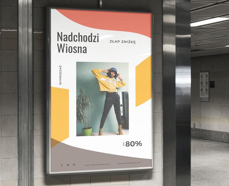 Plakat reklamowy na witrynę sklepową informujący o promocjach