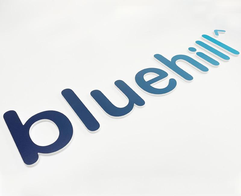 logo 3 d na ścianę bluehill reklama efekt