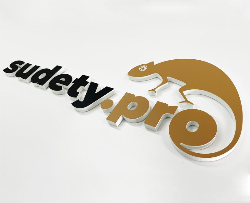 Logo 3D przestrzenne na ścianę sudety.pro reklama efekt