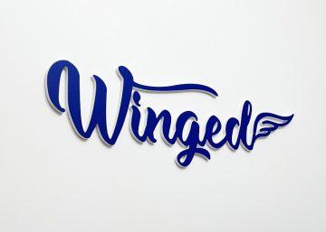 Logo 3D winged z pcv białego i niebieskiego na ścianę