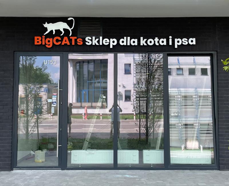 Logo i litery 3D podświetlane LED BigCATs w Warszawie od Studio EFEKT