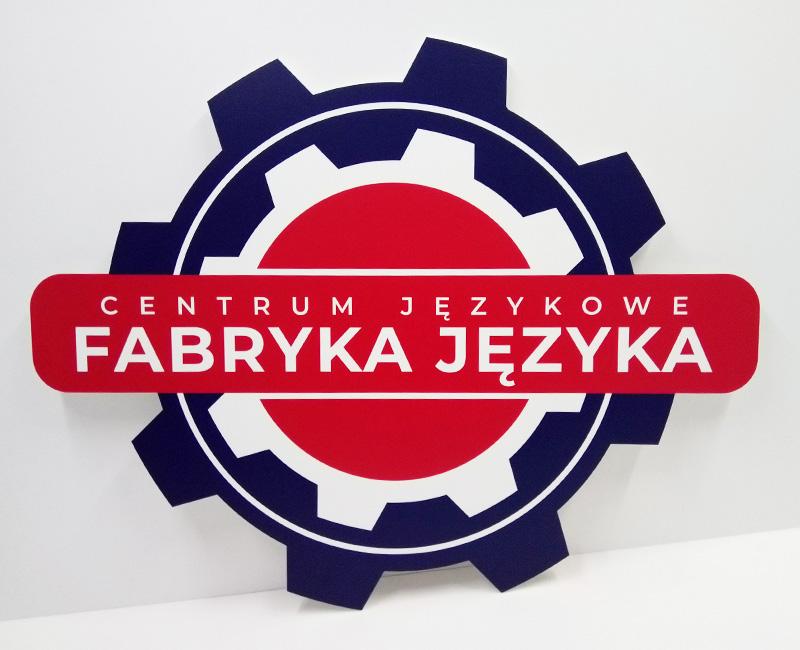 Logo 3D na ścianę Fabryka Języka od Studio EFEKT